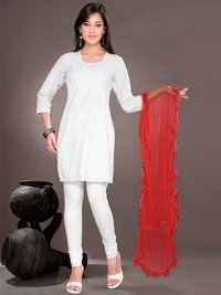 Red Net Dupatta With Frill And Contrast Edged