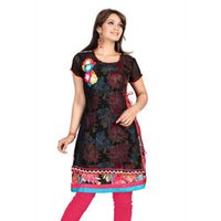 Red And Black Casual Kurti