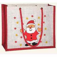 Christmas Jute Grocery Bag