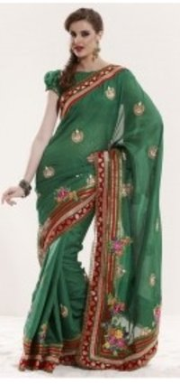 Designer Green Party Wear Saree