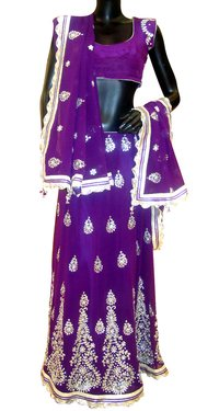 Violet Embroidered Wedding Lehenga