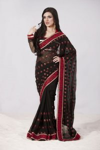 Alluring Black Embroidered Saree
