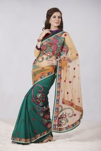 Charming Apricot And Bottle Green Embroidered Saree