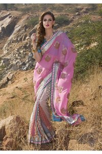 Charming Deep Pink Embroidered Saree