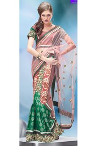 Light Pink And Green Net Lehenga Style Saree With Blouse
