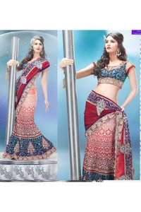 Rose Pink and Red Net Lehenga Style Saree with Blouse