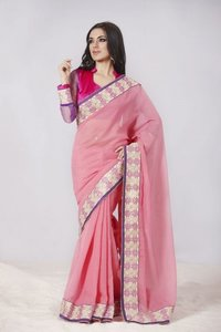 Tranquil Deep Pink Embroidered Saree