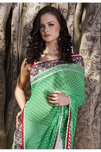 Unique Emerald Green And Ivory Embroidered Saree