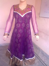 Designer Purple Net Printed Chanderi Suit
