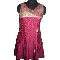Dark Pink Embroidered Chanderi Suit
