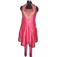 Neck Design Pink Embroidered Chanderi Suit