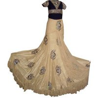 Embroidered Velvet Top With Long Ghera Embroidered Skirt