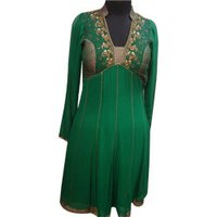 Brocade Embroidered Neck Design Indo Western Dress