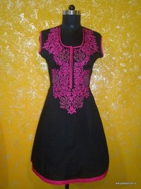 Black Cotton Kurti With Pink Embroidery