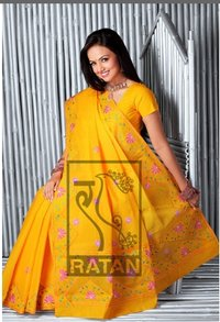 Ladies Yellow Embroidered Sarees