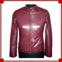 Ladies Leather Dark Maroon Jacket