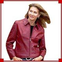 Ladies Maroon Leather Jacket