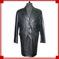 Men'S Long Leather Coat