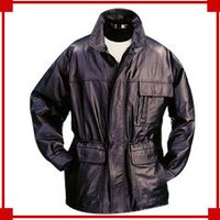 Men'S Leather Trench Coat