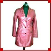 Ladies Pink Leather Coat