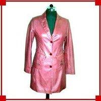 Ladies Pink Leather Coat