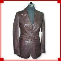 Ladies Brown Leather Coat
