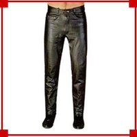 Men'S Biker Leather Jeans
