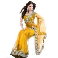 Ladies Yellow Blouse Saree