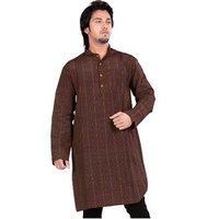 Brown Striped Cotton Kurta