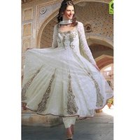 Off White Net Anarkali Suit