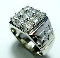 Men'S Diamond Studded Platinum Ring