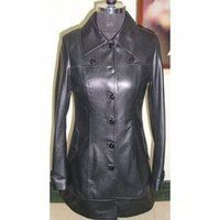 Ladies Long Black Leather Jacket