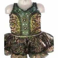 Girls Beads and Stones Work Synthetic Frock