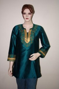 Peacock Green Art Silk With Embroidery Kurta