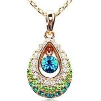 Gold Green Tear Drop Crystal Pendant Necklace