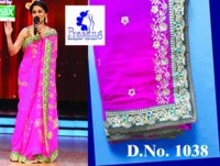 Madhuri Jalak Dikhalaja Pink Embroidered Saree