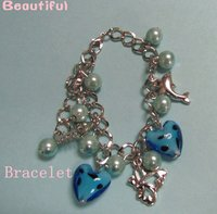 Silver Lover Metal Blue Pearl Jewelry Bracelet