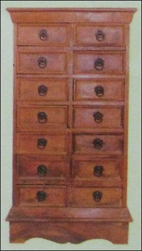 Fourteen Drawer Wooden Cabinet