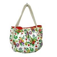 Flower Printed Beach Bag