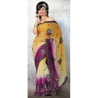 Yellow And Magenta Saree