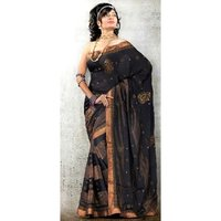 Black With Golden Border Saree