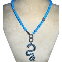 Turquoise Gemstone Diamond Beaded Necklace