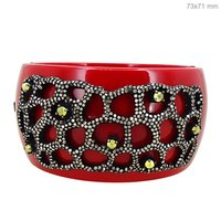 Jade Carving Gold Enamel Diamond Pave Bangle