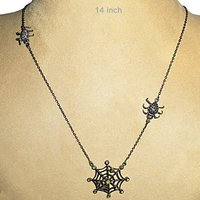 Designer Spider Silver Natural Diamond Studded Necklace