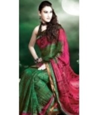 Pink And Green Zari Work Saree With Golden Border