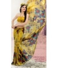Yellow Floral Printed Saree