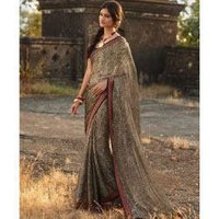Digital Printed Borders Saree