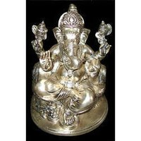 Brass Ganesh Sitting With Pillow