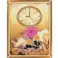 Wall Clock with Flower Painting
