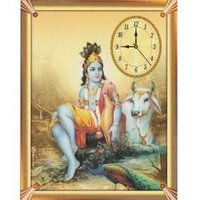 Wall Clock with Krishna Painting